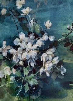 Jo Haran, Midnight Anemones, Contemporary Art, Affordable Art, Floral Art