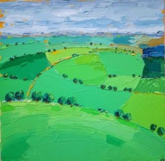 Georgie Dowling, Cotswold Fields, Original Landscape Painting, Affordable Art