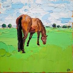 Georgie Dowling, Grazing Horses, Horse Painting, Original Art
