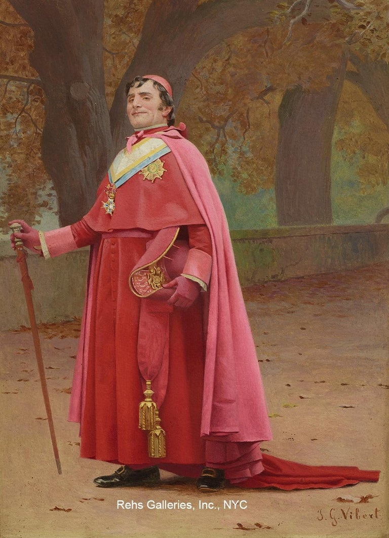 Jehan-Georges Vibert Figurative Painting - Cardinal Study for The Preening Peacock