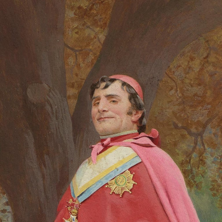 Cardinal Study for The Preening Peacock - Painting by Jehan-Georges Vibert