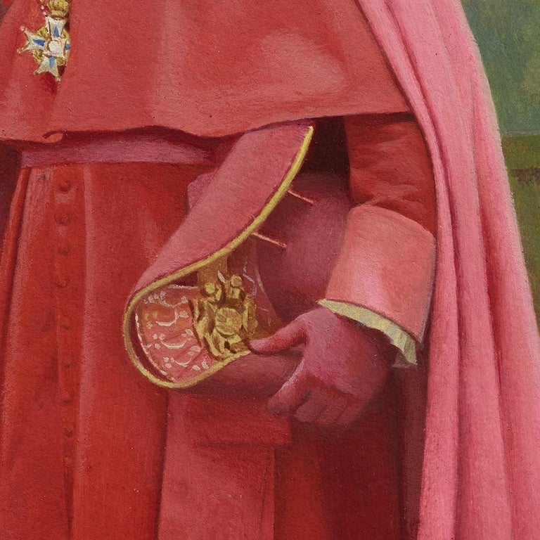 Cardinal Study for The Preening Peacock - Realist Painting by Jehan-Georges Vibert
