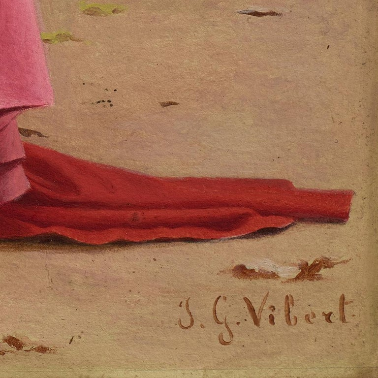 Cardinal Study for The Preening Peacock - Brown Figurative Painting by Jehan-Georges Vibert