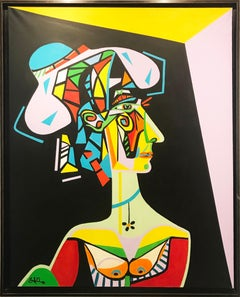 "Original Cubist oil on canvas painting by ZAFI - ""Madame Picasso"""