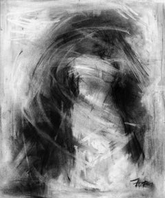 MJ II by Gail Foster 2018 Petite Framed Charcoal on Paper Figurative