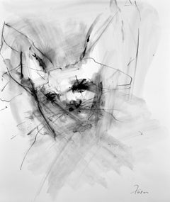 Rabbit Face by Gail Foster 2017 Sumi Ink on Paper Framed Contemporary