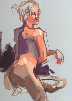 Figure Study 5 by Kendall Portis, Petite Vertical Nude on Paper Painting