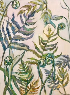 Autumn Fern, Vertical Framed Mixed Media on Paper Fern Painting