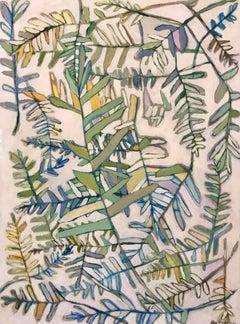 Resurrection Fern, Vertical Framed Mixed Media on Paper Fern Painting