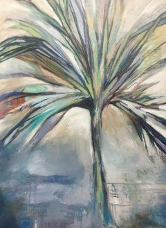 Palmetto, Large Vertical Framed Palmetto Oil on Canvas Painting