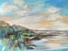 Water's Edge, Large Framed Horizontal Low Country Landscape Painting