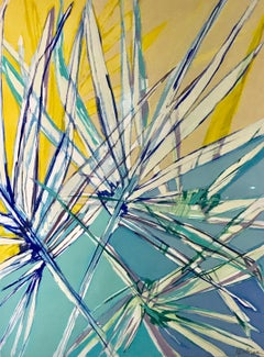 Palm Frond I, Vertical Framed Abstracted Palm Painting on Paper