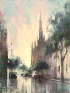 Grace Church by Ignat Ignatov, Framed Vertical Cityscape Oil on Panel Painting