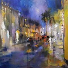 Southern Nocturne by Rick Reinert, Large Impressionist Charleston Street Scene