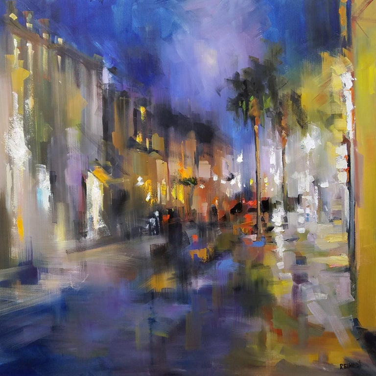 'Southern Nocturne' is a large Impressionist oil on canvas painting created by Southern artist Rick Reinert in 2019. Featuring a lovely palette mostly made of blue, purple, gold and black tones accented with red touches, the painting depicts a