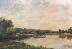 French Framed Landscape by Victor Alexandre Rozier from the Late 19th Century