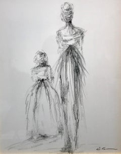 Mother and Daughter by Geri Eubanks, Framed Charcoal on Paper Figurative Piece
