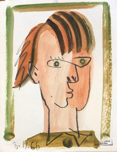Figure XI by Raymond Debieve, Petite Mid-Century French Cubist Portrait on Paper