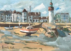 Port-Haliguen by Fanch Lel, Small French Seaside Gouache Painting of Brittany