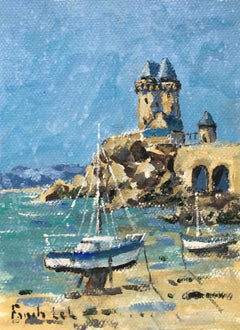 La Tour Solidor by Fanch Lel Small Seaside Gouache on Board Painting of Brittany