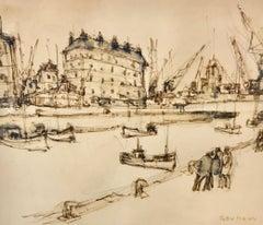 Port à l'Encre by Joseph Raumann, Framed Ink on Paper Drawing