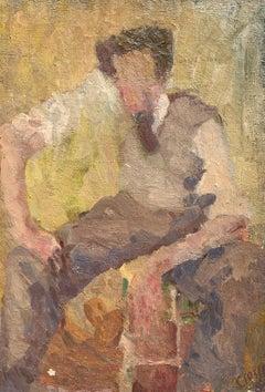 Autoportrait by Daniel Clesse, Vintage Framed Abstract Portrait Painting