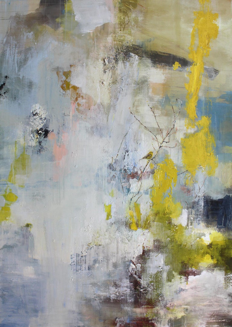 'Did you Hear the Sound? (Prairie Warbler) is a large vertical mixed media on canvas abstract painting created by American artist Justin Kellner in 2019. Featuring a palette made of yellow, grey, blue and brown tones, the painting presents an