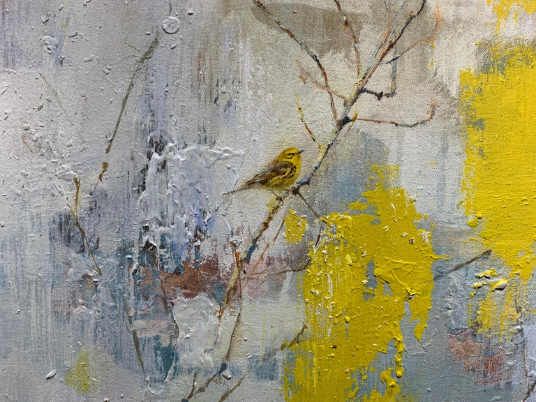 Did You Hear the Sound? (Prairie Warbler) by Justin Kellner Large Abstract Piece For Sale 3