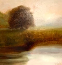 The Day Will Come by Laura Lloyd Fontaine, Green and Neutral Landscape Painting