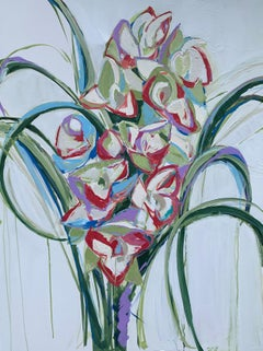 The Orchids by Sarah Caton Wynne, Large Vertical Floral in Pink, Blue and Green
