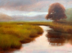 Gentle Soul by Laura Lloyd Fontaine, Green and Neutral Landscape Painting