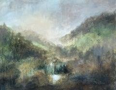 Golden Valley by J Austin Jennings Large Horizontal Framed Landscape Waterfall