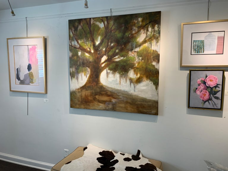 Forever Covered by Laura Lloyd Fontaine, Green and Neutral Willow Tree Painting For Sale 2