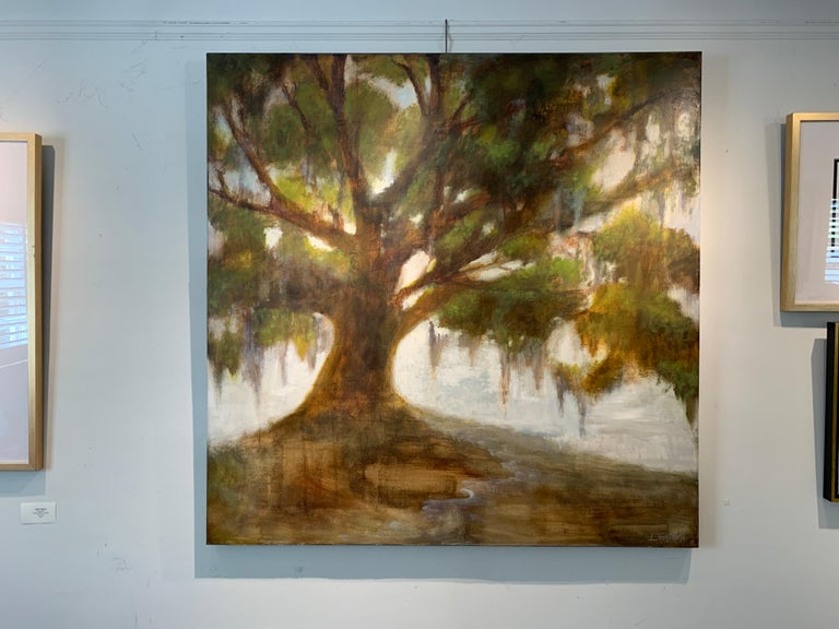 Forever Covered by Laura Lloyd Fontaine, Green and Neutral Willow Tree Painting For Sale 3