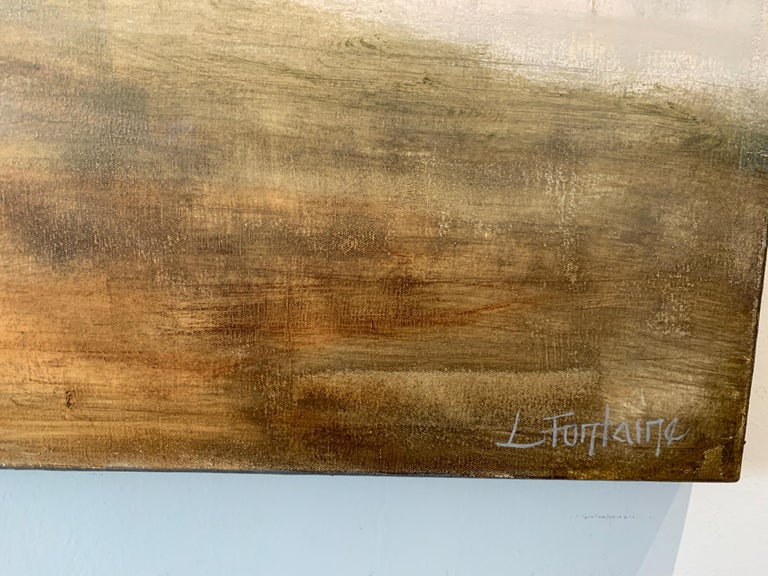 Forever Covered by Laura Lloyd Fontaine, Green and Neutral Willow Tree Painting For Sale 4