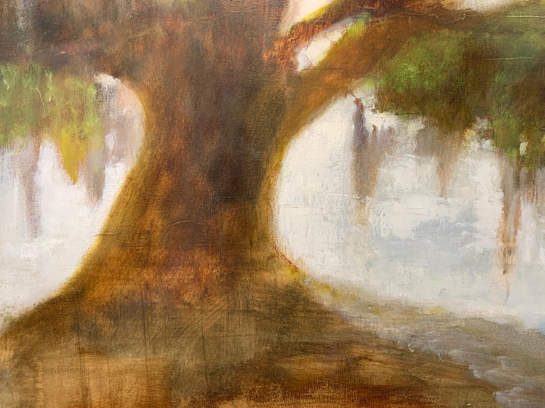 Forever Covered by Laura Lloyd Fontaine, Green and Neutral Willow Tree Painting For Sale 5