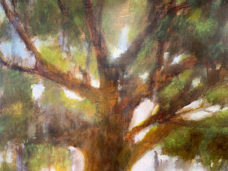 Forever Covered by Laura Lloyd Fontaine, Green and Neutral Willow Tree Painting For Sale 6