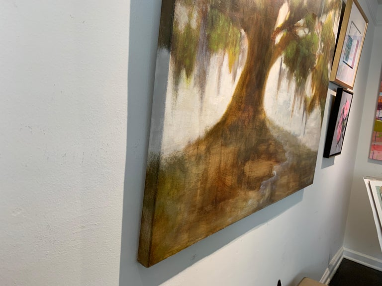 Forever Covered by Laura Lloyd Fontaine, Green and Neutral Willow Tree Painting For Sale 7