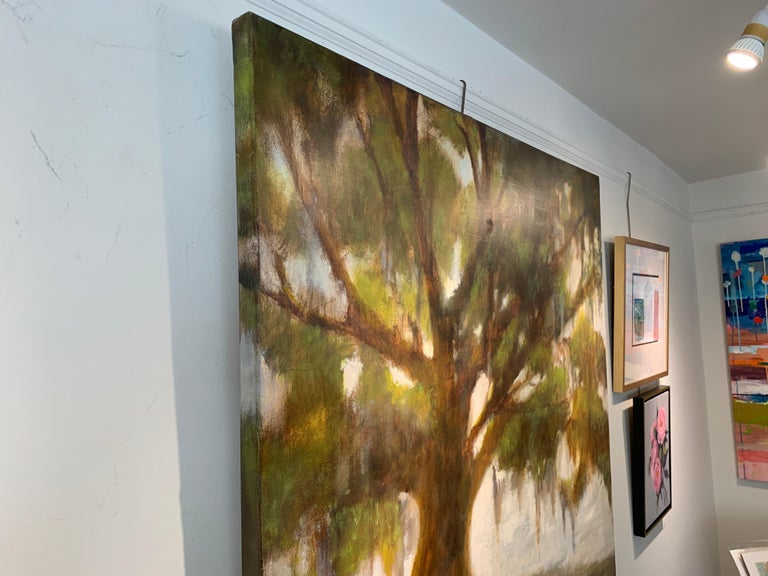 Forever Covered by Laura Lloyd Fontaine, Green and Neutral Willow Tree Painting For Sale 8
