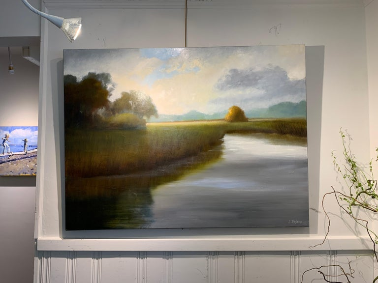 His Morning Light by Laura Lloyd Fontaine, Green and Blue Landscape Painting For Sale 2