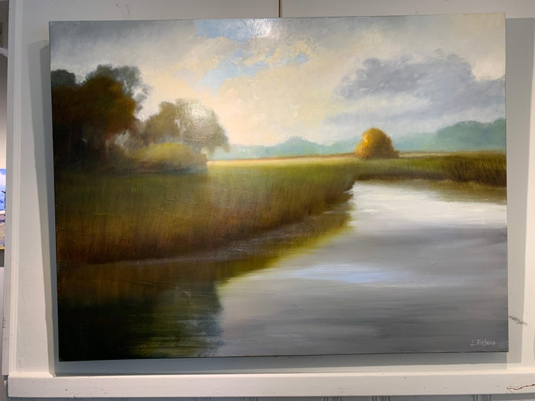 His Morning Light by Laura Lloyd Fontaine, Green and Blue Landscape Painting For Sale 3