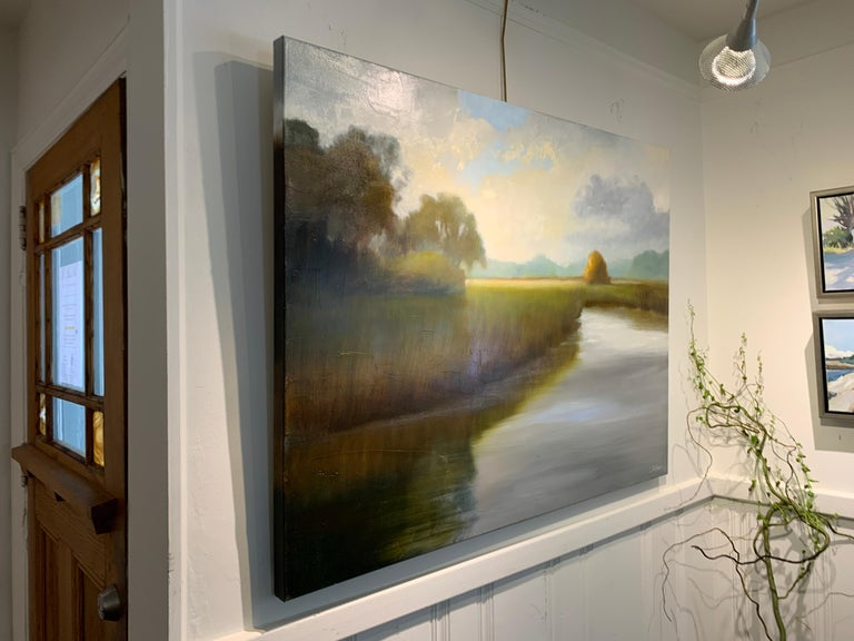 His Morning Light by Laura Lloyd Fontaine, Green and Blue Landscape Painting For Sale 4