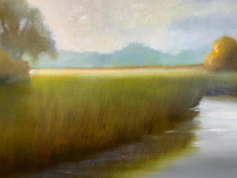 His Morning Light by Laura Lloyd Fontaine, Green and Blue Landscape Painting For Sale 6