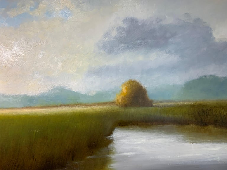 His Morning Light by Laura Lloyd Fontaine, Green and Blue Landscape Painting For Sale 7