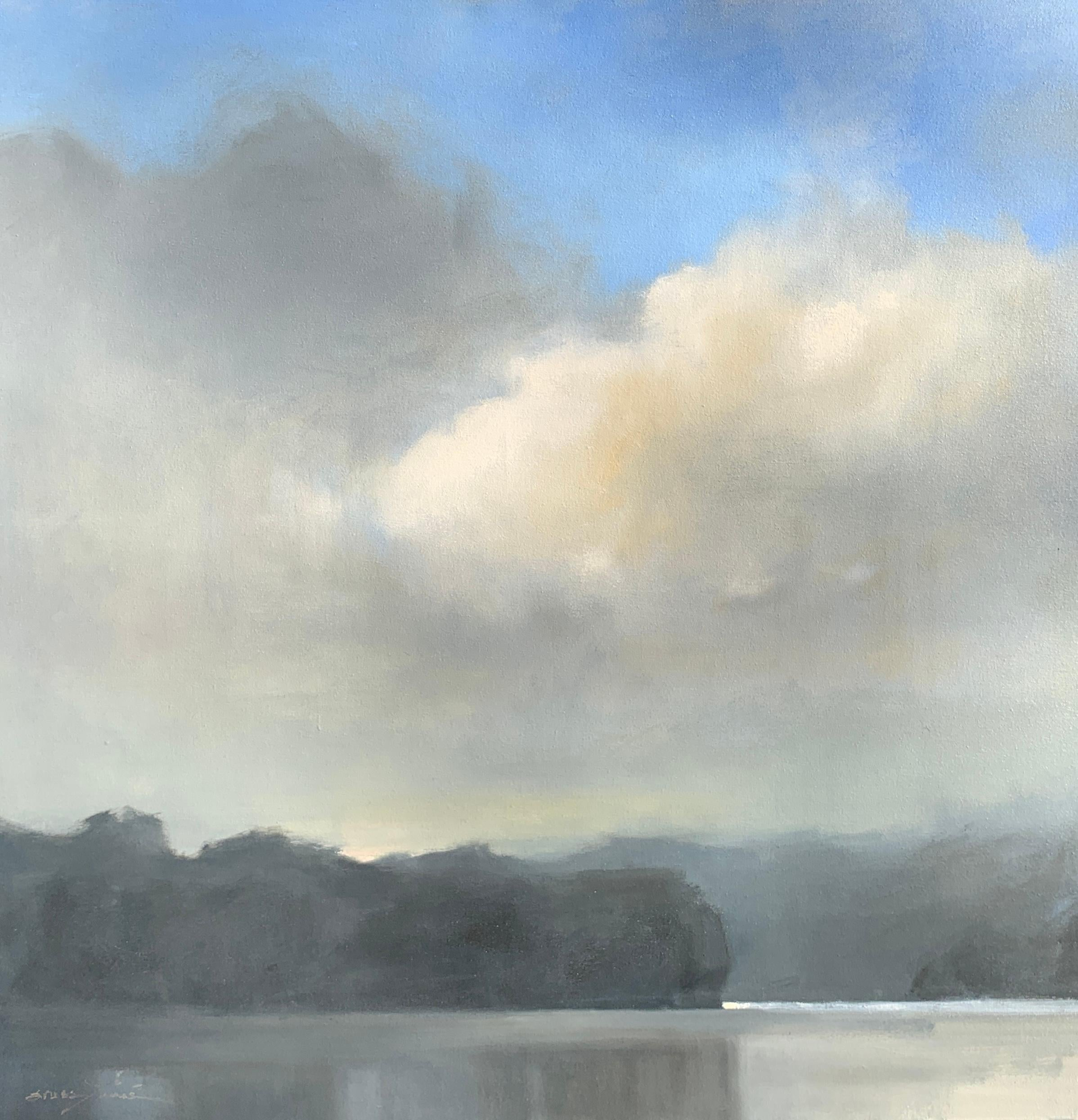 Breaking Storm by Sherrie Russ Levine, Large Square Landscape Painting in Blue