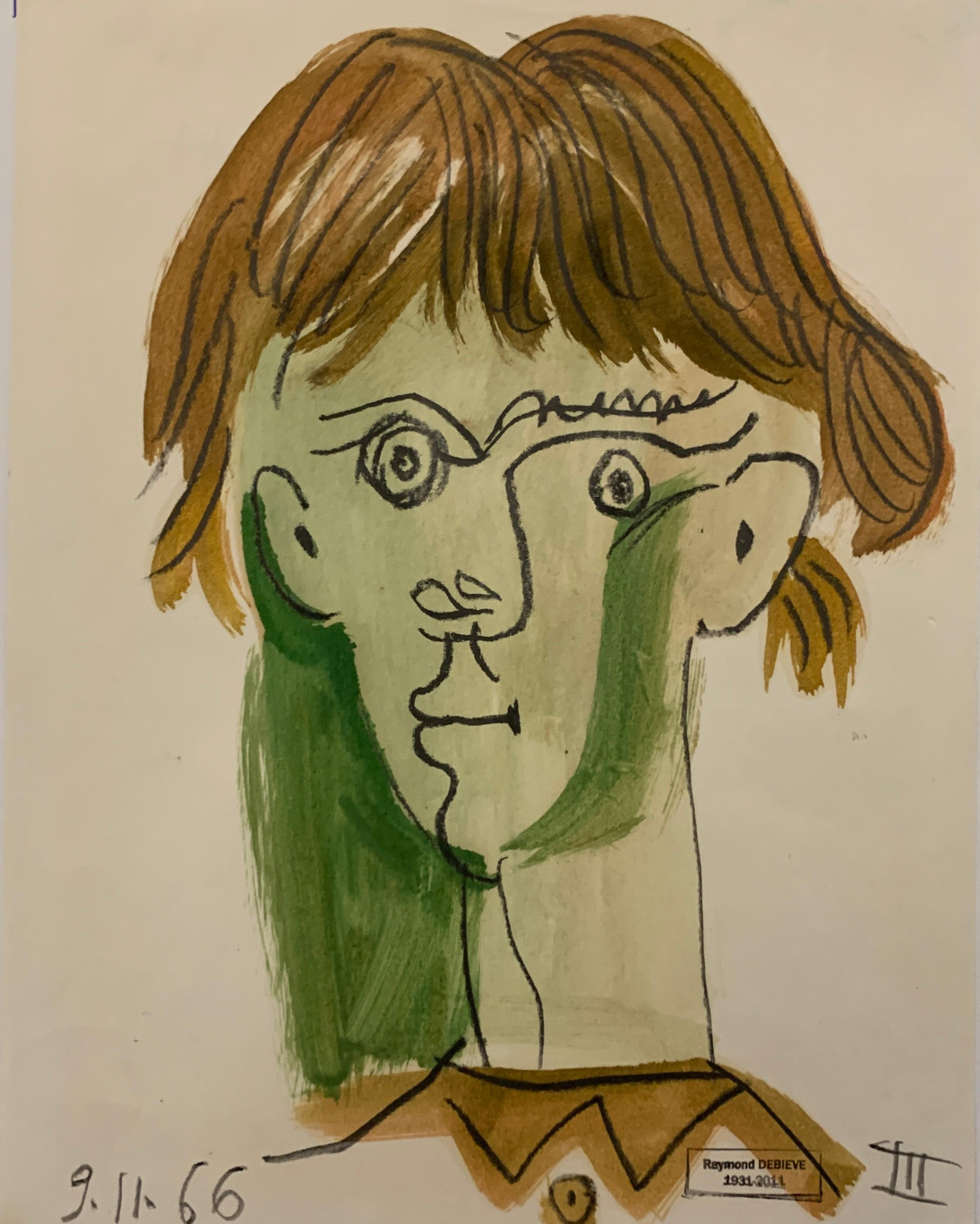 Cheveux Bruns Court by Raymond Debieve, French Cubist Portrait on Paper