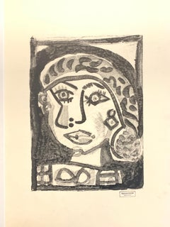 Woman's Face by Raymond Debieve, French Cubist Portrait on Paper