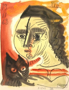 En Rouge by Raymond Debieve, French Cubist Portrait on Paper with Cat