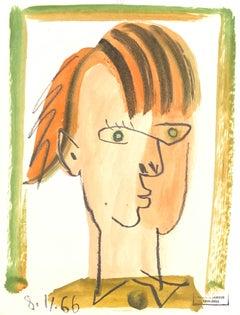 Figure XI by Raymond Debieve, French Cubist Portrait on Paper