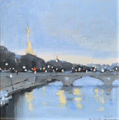 Seeing the City at Dusk by Sherrie Russ Levine, Parisian Painting, Blue, Green